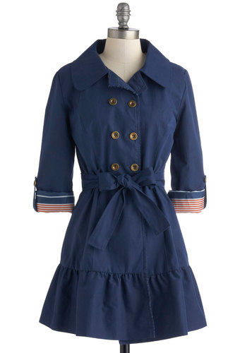 Jaunt and Flaunt Coat by Tulle Clothing - Blue, Solid, Buttons, Pockets, Belted, Double Breasted, Long Sleeve, Collared, 2, Spring, Fall, Long
