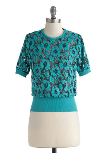 The Tuscan Fun Top - Blue, Black, Floral, Daytime Party, Short Sleeves, Mid-length, Vintage Inspired, Blue, Short Sleeve