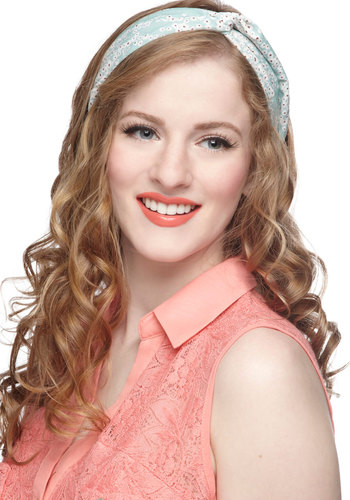 Twist and Sprout Headband - Mint, Red, White, Floral, Pastel, Print