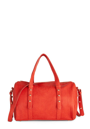 Pure Persimmon Bag - Orange, Gold, Solid, Studs, Faux Leather