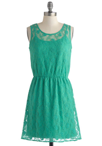 Shore Enough Dress - Green, Solid, Lace, Party, A-line, Tank top (2 thick straps), Scoop, Short, Exposed zipper