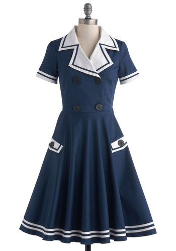 High Seas Entertainer Dress - Cotton, Blue, White, Buttons, Pockets, Casual, A-line, Short Sleeves, Collared, Solid, Nautical, Vintage Inspired, 40s, 50s, Fit & Flare, Long