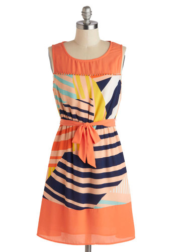 I'm Glistening! Dress - Orange, Multi, Beads, Belted, Casual, A-line, Sleeveless, Scoop, Mid-length, Print