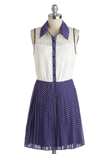 Blueberry Gathering Dress - Purple, White, Polka Dots, Buttons, Lace, Casual, Shirt Dress, Sleeveless, Collared, Summer, Sheer, Knit, Woven, Short