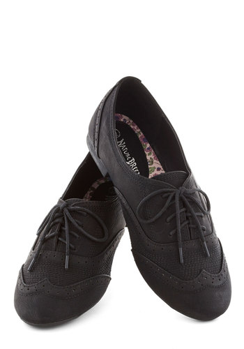 Just a Jiffy Flats - Black, Solid, Menswear Inspired, Flat, Lace Up