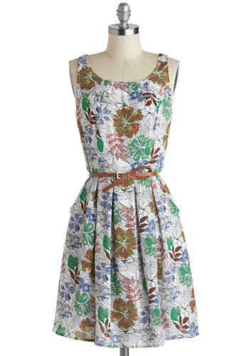Trop the Mic Dress - Multi, Pockets, Belted, Casual, A-line, Tank top (2 thick straps), Scoop, Summer, White, Woven, Floral, Pleats, Fall, Mid-length