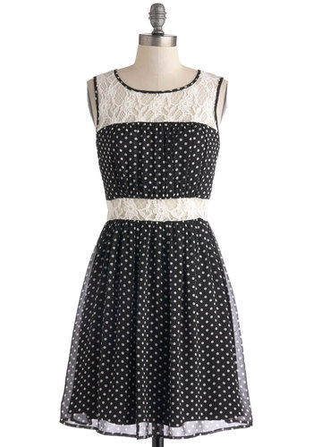Dainty Day Date Dress - Black, White, Polka Dots, Lace, Party, A-line, Tank top (2 thick straps), Scoop, Chiffon, Sheer, Short, Knit, Woven