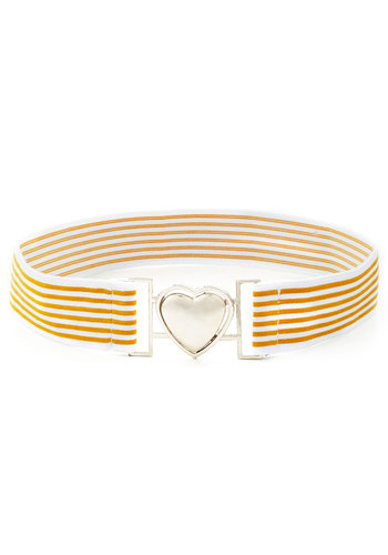 Inch by Cinch Belt - Yellow, Silver, Stripes, White, Valentine's