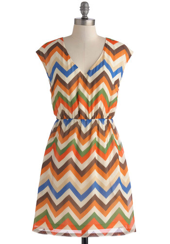 The Beat Goes Chevron Dress by Tulle Clothing - Chevron, Multi, Casual, A-line, Cap Sleeves, V Neck, Mid-length, Orange, Green, Blue, Brown, Tan / Cream