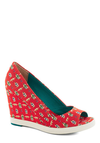 Secret Society Wedge by Seychelles - Red, Multi, Print, Nautical, Wedge, Peep Toe, Mid, Summer