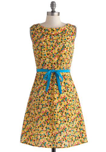 Spotted in Dots Dress by Tulle Clothing - Yellow, Multi, Polka Dots, Buttons, Belted, Sheath / Shift, Sleeveless, Crew, Spring, Mid-length, Casual