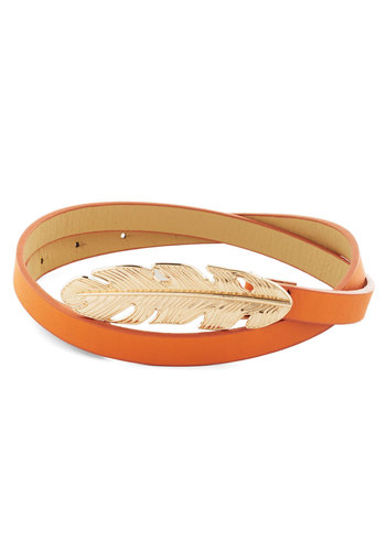 Take It or Leaf It Belt in Orange - Orange, Gold, Solid, Variation, Faux Leather, Fall, Press Placement
