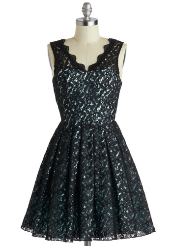 After Dinner Speech Dress - Mid-length, Black, Blue, Cutout, Lace, Pleats, Cocktail, Fit & Flare, Sleeveless, V Neck, Scallops, Wedding, Party, Sheer, Top Rated