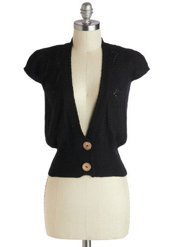 Love Is In The Noir Cardigan - Black, Buttons, Short, Solid, Work, Film Noir, Vintage Inspired, Cap Sleeves, Cropped, Black, Short Sleeve