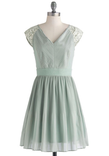 Need I Sage More? Dress - Mid-length, Mint, Solid, Lace, Pleats, Party, A-line, Cap Sleeves, V Neck, Bridesmaid