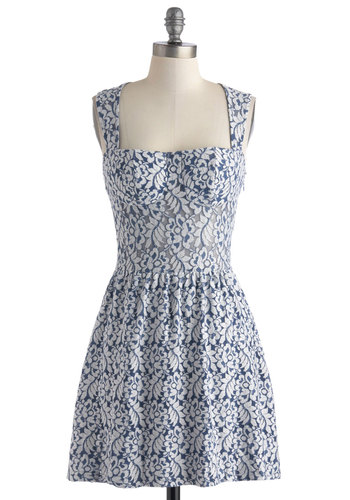 You're One in Pavilion Dress - Short, Blue, White, Lace, Party, A-line, Tank top (2 thick straps), Floral, Spring, Sheer