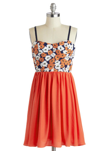 Graceful Gardener Dress - Short, Orange, Blue, White, Floral, Casual, Empire, Spaghetti Straps, Sweetheart, Summer