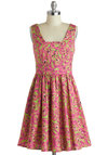 Betsey Johnson Latticework Like a Charm Dress by Betsey Johnson - Mid-length, Pink, Green, Floral, Cutout, Party, A-line, Sleeveless, Black