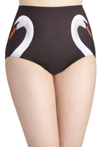 Swan Lakeshore Swimsuit Bottom - Black, Orange, White, Print with Animals, Beach/Resort, High Waist, Summer, Exclusives