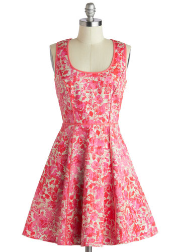 Wine Festival Dress - Mid-length, Cotton, Pink, Tan / Cream, Floral, Pockets, Trim, Party, Fit & Flare, Tank top (2 thick straps), Scoop, Daytime Party, Spring, Summer