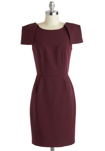 Wine Tasting Soiree Dress - Red, Solid, Work, Sheath / Shift, Short Sleeves, Scoop, Minimal, Mid-length, Knit, Purple