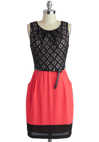Meet Your Marvelous Mishmash Dress - Pink, Black, Belted, Sheath / Shift, Tank top (2 thick straps), Scoop, Party, Mid-length, Lace, Pleats, Pockets