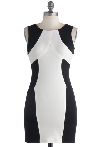 Hot Couture Dress - Short, Black, White, Backless, Girls Night Out, Bodycon / Bandage, Sleeveless, Colorblocking, Mini, Summer
