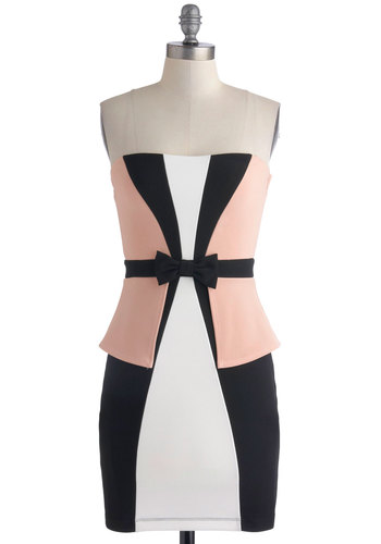 The Pink Prancer Dress - Pink, Black, White, Bows, Girls Night Out, Bodycon / Bandage, Strapless, Sweetheart, Colorblocking, Mid-length, Knit