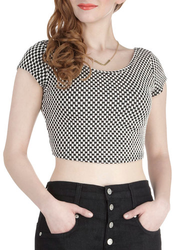 Don't Crop Me Now Top - Black, White, Checkered / Gingham, Cropped, Cap Sleeves, Short, Casual, Girls Night Out, Summer, Scoop