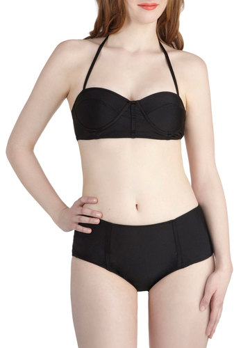 Saved by the Swell Two Piece by Motel - Black, Solid, Beach/Resort, Minimal, Halter, Summer, International Designer