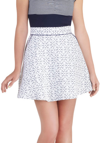 Lawn Party Skirt - White, Blue, Eyelet, A-line, Mini, Short, Print, Exposed zipper, Pockets, Daytime Party, Spring, Summer