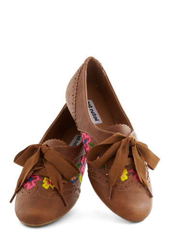 Folksy by the Flower Box Flat - Tan, Multi, Solid, Cutout, Embroidery, Flower, Menswear Inspired, Flat, Boho, Spring