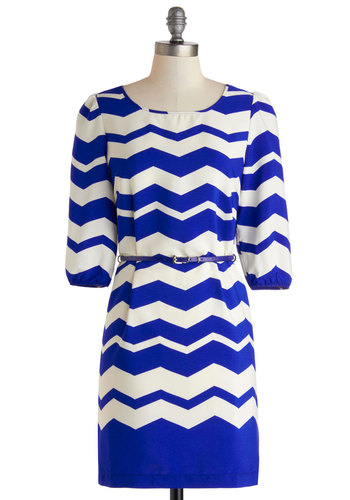Flight of Style Dress - Mid-length, Blue, White, Chevron, Belted, Casual, Shift, 3/4 Sleeve, Scoop, Work
