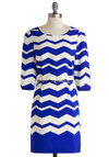 Flight of Style Dress - Mid-length, Blue, White, Chevron, Belted, Casual, Sheath / Shift, 3/4 Sleeve, Scoop, Work