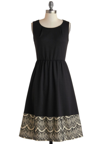 Tonight's Best Dress - Long, Black, Tan / Cream, Lace, Party, A-line, Sleeveless, Scoop, Solid, Wedding