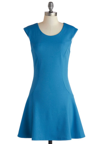 Un-teal We Meet Again Dress - Mid-length, Blue, Solid, Casual, A-line, Cap Sleeves, Scoop, Minimal, Summer