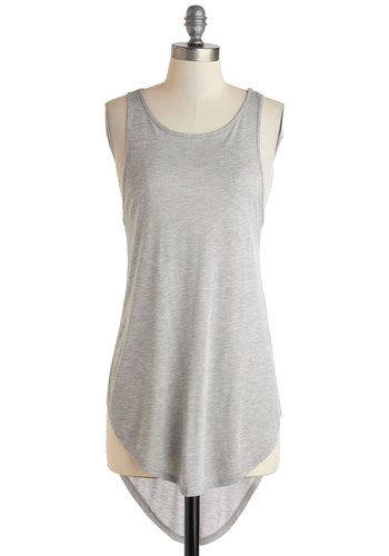 Sooner or Layer Top - Long, Grey, Solid, Casual, Travel, Minimal, Racerback, Summer, Jersey, Scoop, Knit, Military, Grey, Sleeveless