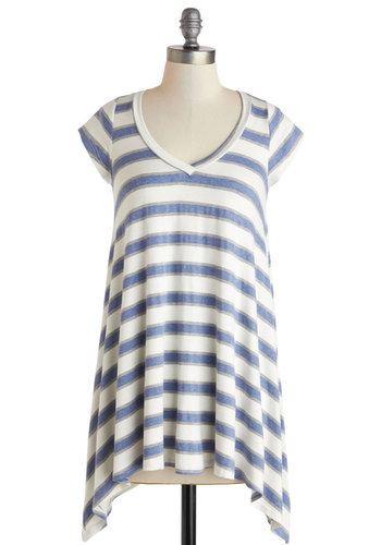 Lounging Singer Tunic in Blue - Long, Blue, White, Stripes, Casual, Short Sleeves, Travel, Summer, Jersey, V Neck, White, Short Sleeve