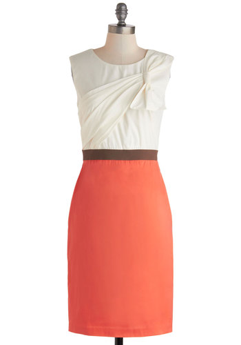 Evening Cocktails Dress - Mid-length, White, Coral, Bows, Work, Shift, Sleeveless, Scoop, Exposed zipper, Vintage Inspired, 60s, Spring, Cocktail