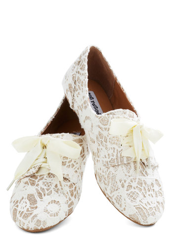 Just a Glitter Bit Flat in White - White, Solid, Lace, Glitter, Fairytale, Flat, Casual, Daytime Party, Bride