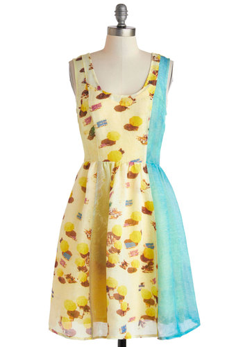 Plenty by Tracy Reese Sights of the Shoreline Dress by Plenty by Tracy Reese - Mid-length, Yellow, Blue, Multi, Casual, A-line, Tank top (2 thick straps), Scoop, Novelty Print, Exposed zipper, Daytime Party, Summer