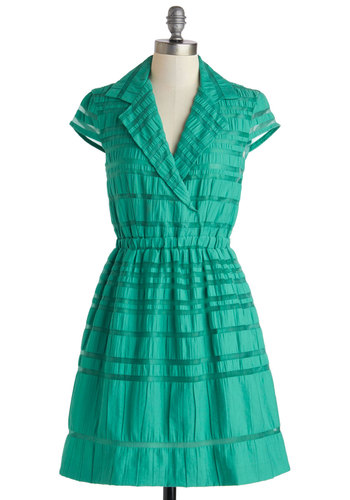 In Forest Place Dress - Mid-length, Sheer, Green, Solid, Pockets, Casual, A-line, Cap Sleeves, Collared, Stripes, Work, Daytime Party, Spring, Summer