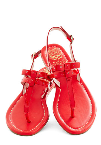Candy Apple of My Eye Sandal - Red, Solid, Bows, Beach/Resort, Summer, Flat, Leather