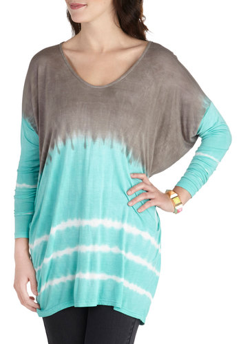 Acro Yoga Top - Mid-length, Blue, Brown, Tie Dye, Casual, Long Sleeve, Travel, Scoop