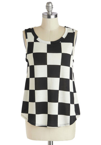 Sound Checked Top - Black, White, Checkered / Gingham, Casual, Sleeveless, Mid-length, Summer, Sheer, Scoop, Black, Sleeveless