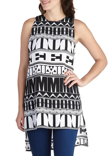 VIP Pastime Tunic by Motel - Multi, Black, White, Novelty Print, Casual, Sleeveless, Long, Summer, Statement