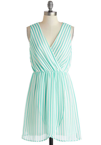 Lend Me Your Spearmint Dress - Short, White, Stripes, Casual, A-line, Sleeveless, V Neck, Mint, Beach/Resort, Summer