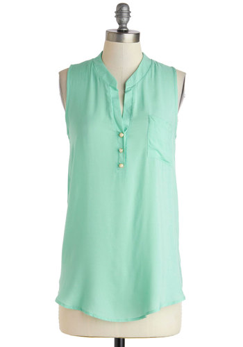 Afternoon Meeting Top - Mint, Solid, Buttons, Pockets, Casual, Sleeveless, Mid-length, Travel, Pastel, Summer