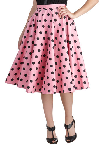 Dance and Swing Skirt - Pink, Black, Polka Dots, Party, Rockabilly, Vintage Inspired, 50s, 80s, Fit & Flare, International Designer, Long, Cotton, Summer