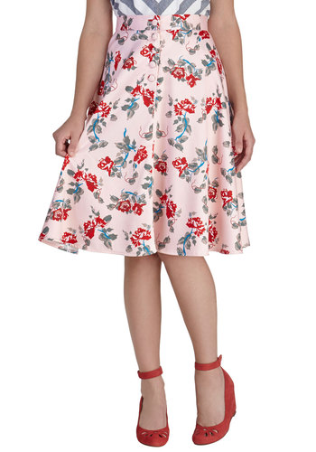 In Fleur Swing Skirt - Pink, Red, Blue, Grey, Floral, Work, Daytime Party, Graduation, Rockabilly, Pinup, Fit & Flare, International Designer, Mid-length